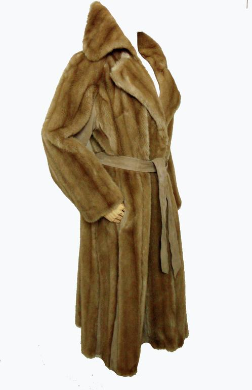 Chic Lilli Ann Full Length Belted Faux Blond Mink Fur + Suede Coat 1960s Sz16 4