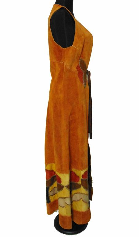 Women's Char Vintage Long Suede Festival Dress or Vest with Floral Leather Inserts 70s S For Sale