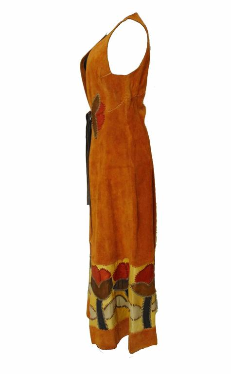 Char Vintage Long Suede Festival Dress or Vest with Floral Leather Inserts 70s S For Sale 1