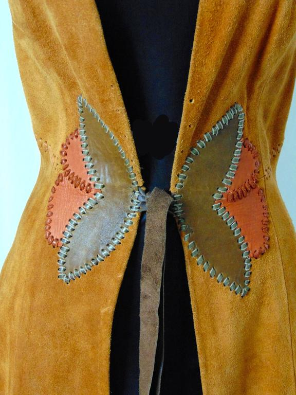 Char Vintage Long Suede Festival Dress or Vest with Floral Leather Inserts 70s S For Sale 3