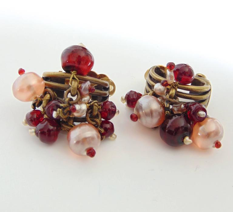 Chanel Torsade Earrings with CC Charms Glass Beads 00A Collection  In Good Condition For Sale In Port Saint Lucie, FL