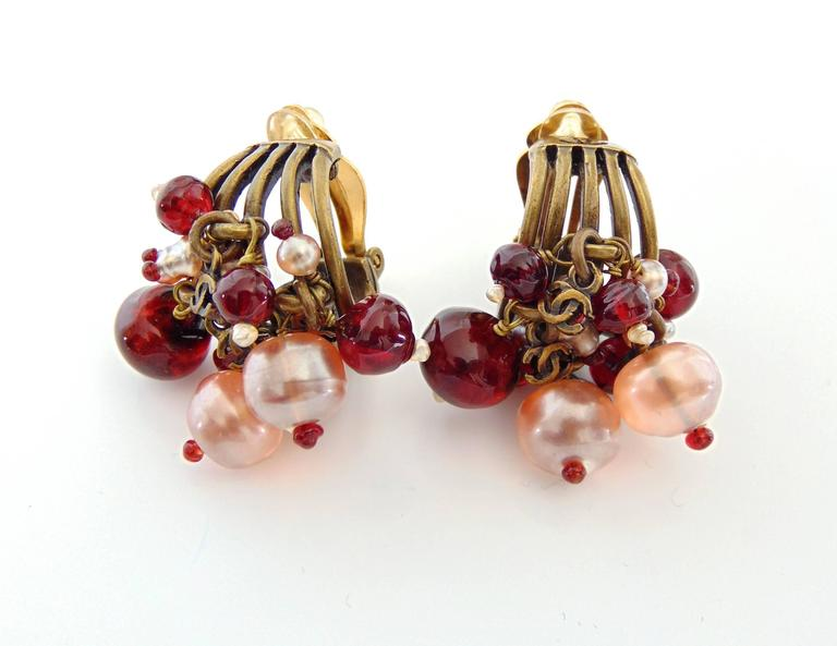 Contemporary Chanel Torsade Earrings with CC Charms Glass Beads 00A Collection  For Sale
