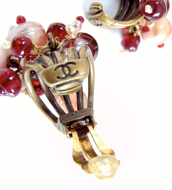 Chanel Torsade Earrings with CC Charms Glass Beads 00A Collection  For Sale 3