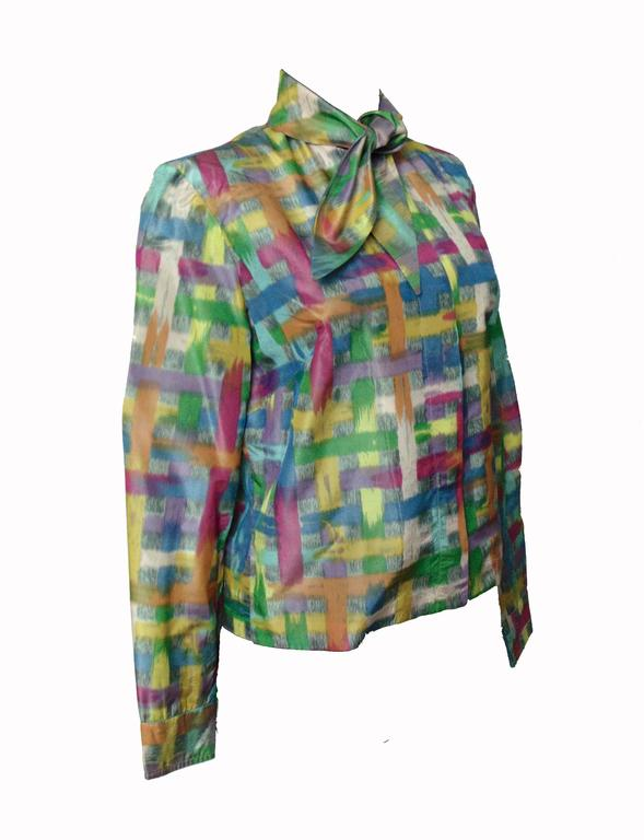 Vintage Christian Dior Watercolor Print Blouse with Tie Wrap Collar Size S 60s 4