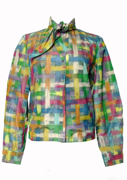 Vintage Christian Dior Watercolor Print Blouse with Tie Wrap Collar Size S 60s 5