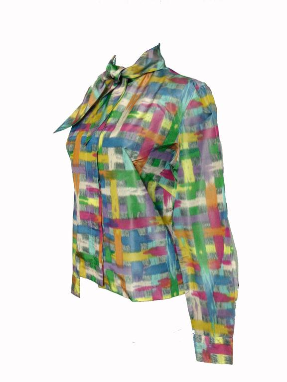 Vintage Christian Dior Watercolor Print Blouse with Tie Wrap Collar Size S 60s 3