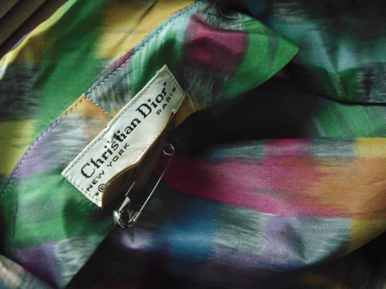 Vintage Christian Dior Watercolor Print Blouse with Tie Wrap Collar Size S 60s 7