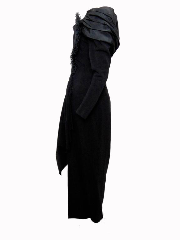 Christian Lacroix Haute Couture Corset Evening Gown Black Silk Crepe XS Numbered 5
