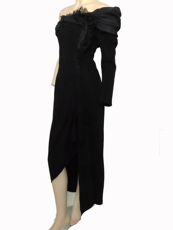 Christian Lacroix Haute Couture Corset Evening Gown Black Silk Crepe XS Numbered 6