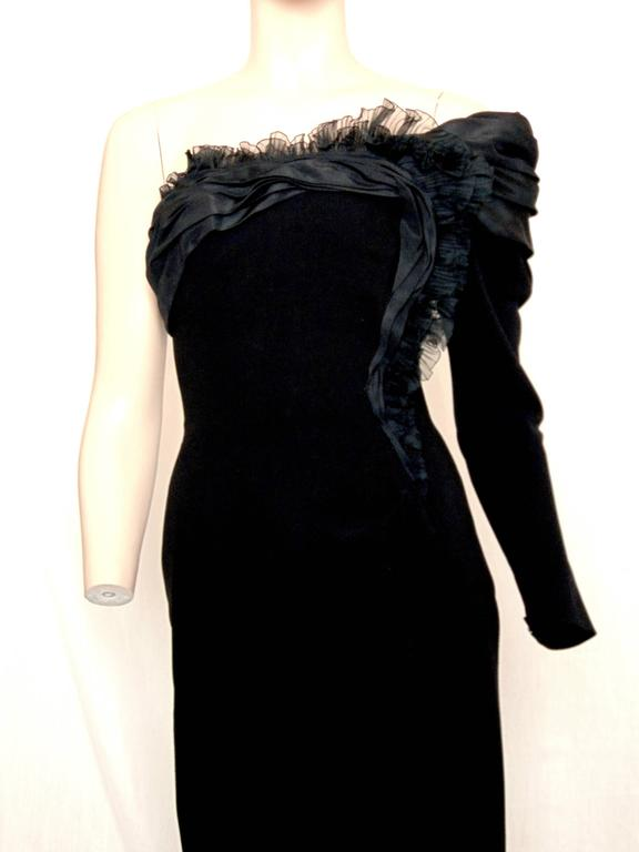 Christian Lacroix Haute Couture Corset Evening Gown Black Silk Crepe XS Numbered 7
