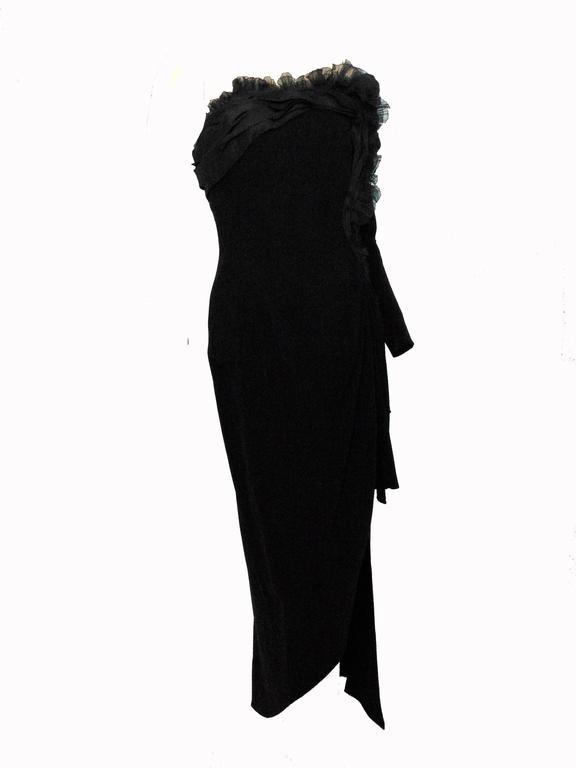 Christian Lacroix Haute Couture Corset Evening Gown Black Silk Crepe XS Numbered 2