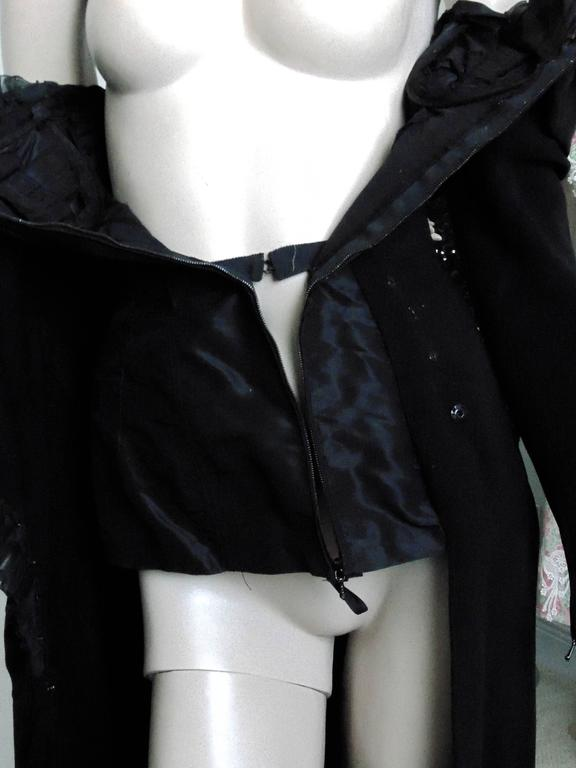 Christian Lacroix Haute Couture Corset Evening Gown Black Silk Crepe XS Numbered 8