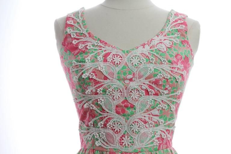 Colorful Lilly Pulitzer Dress with Lace The Lilly 1970s Sun Dress Sz 10 5