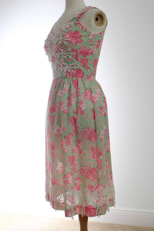 Colorful Lilly Pulitzer Dress with Lace The Lilly 1970s Sun Dress Sz 10 2