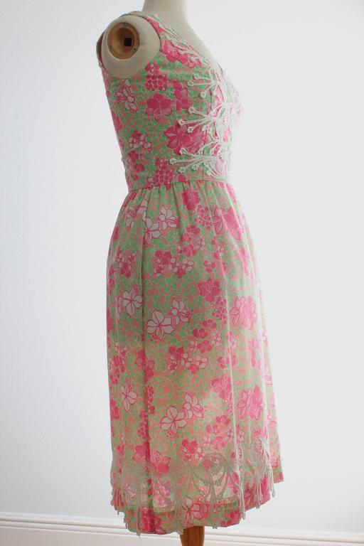 Colorful Lilly Pulitzer Dress with Lace The Lilly 1970s Sun Dress Sz 10 4