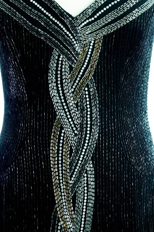Classic Bob Mackie Black Beaded Evening Gown Silver Gold Braid Detail Sz10 1980s 7