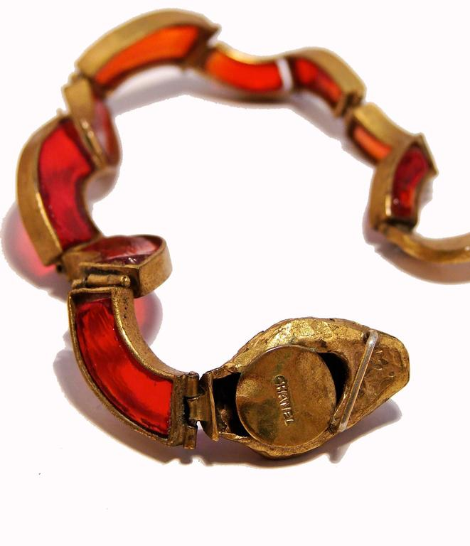 Chanel Red Poured Glass Serpent Bracelet Goossens Gilt Metal Pate de Verre 1970 9