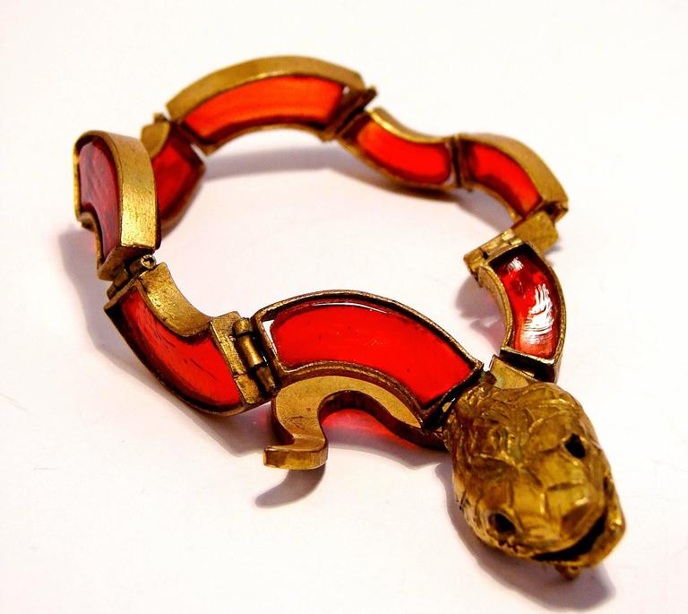 Chanel Red Poured Glass Serpent Bracelet Goossens Gilt Metal Pate de Verre 1970 5