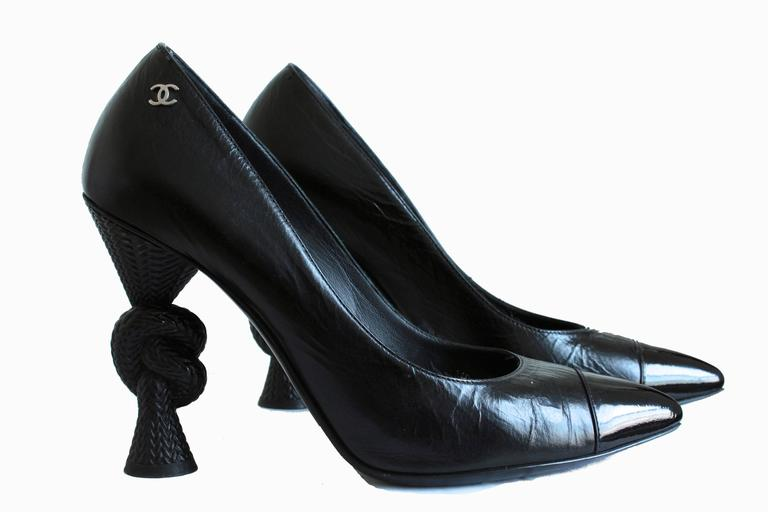 Chanel Knot Heel Shoes Black Leather and Patent 2014 Sz 38.5 2