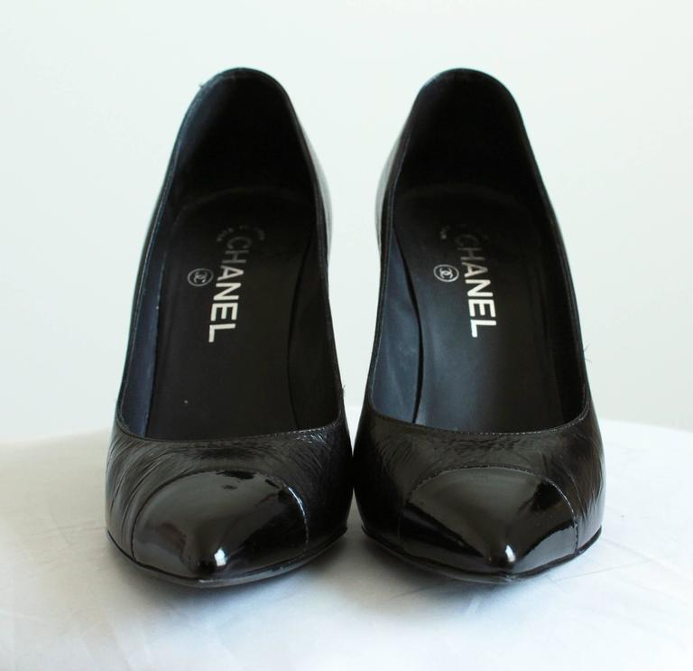 Chanel Knot Heel Shoes Black Leather and Patent 2014 Sz 38.5 8