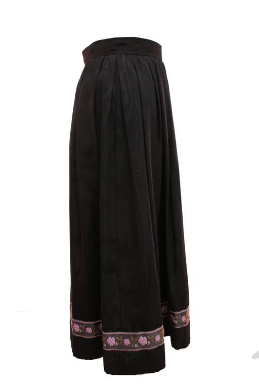 Yves Saint Laurent Silk Skirt Black Moire Embroidered Hem Russian Peasant 70s For Sale 3