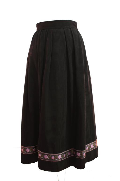 70s Yves Saint Laurent Silk Skirt Black Moire Embroidered Hem Russian Peasant 38 3