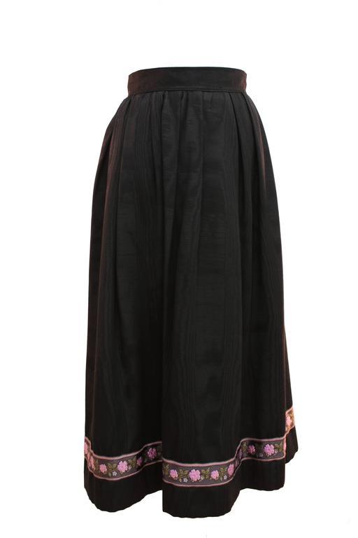 Yves Saint Laurent Silk Skirt Black Moire Embroidered Hem Russian Peasant 70s For Sale 2