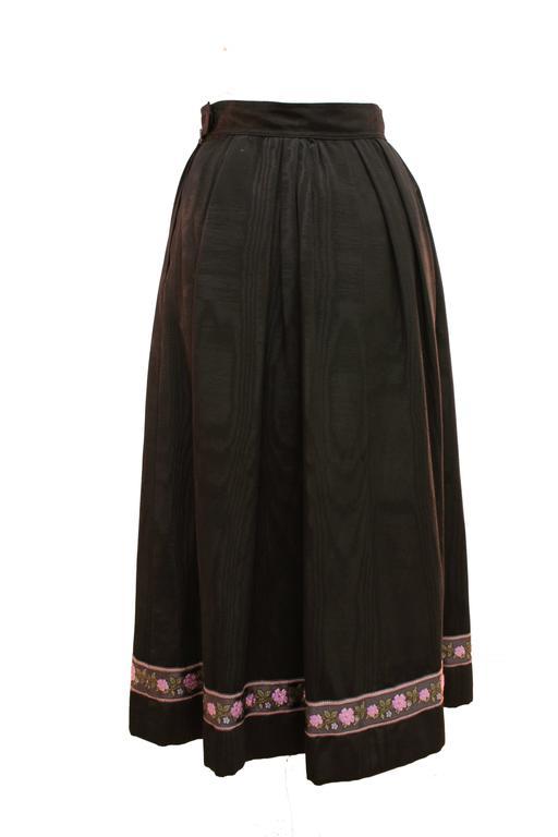 Women's Yves Saint Laurent Silk Skirt Black Moire Embroidered Hem Russian Peasant 70s For Sale