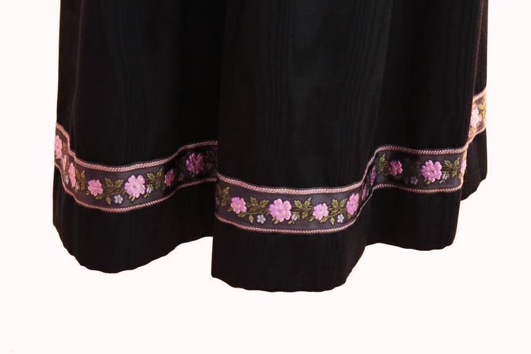 70s Yves Saint Laurent Silk Skirt Black Moire Embroidered Hem Russian Peasant 38 8
