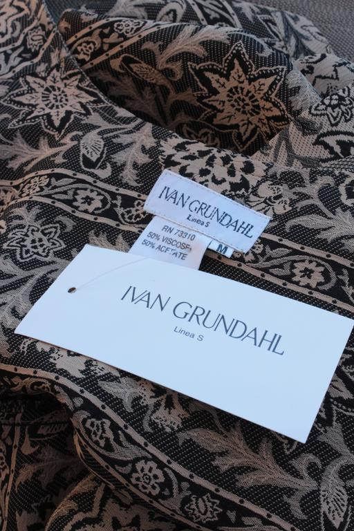 New Ivan Grundahl Long Vest & Pants Set Lagenlook Linea S Jag Floral Tweed M  For Sale 2