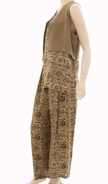 Women's New Ivan Grundahl Long Vest & Pants Set Lagenlook Linea S Jag Floral Tweed M  For Sale