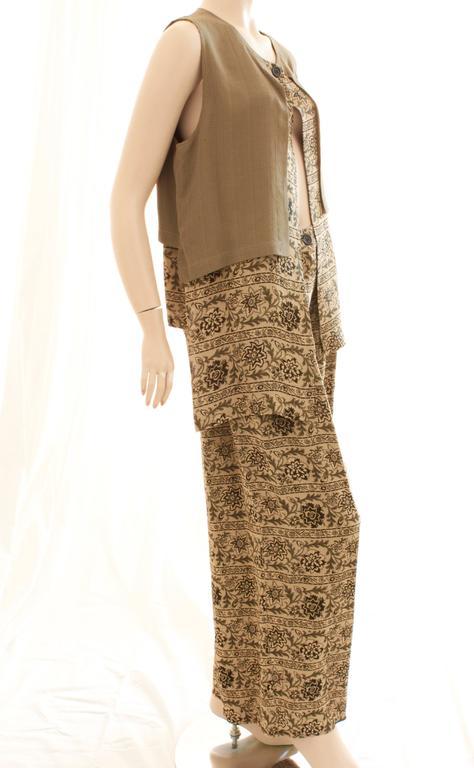 Brown New Ivan Grundahl Long Vest & Pants Set Lagenlook Linea S Jag Floral Tweed M  For Sale