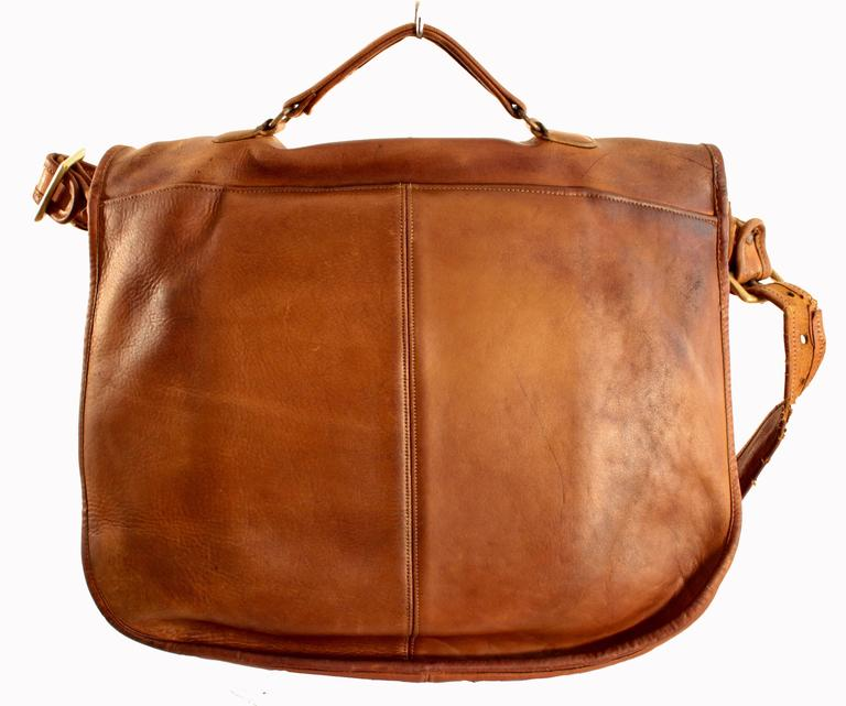Brown Rare Coach Leatherware Swag Bag Distressed Leather Satchel Briefcase 70s NYC  For Sale