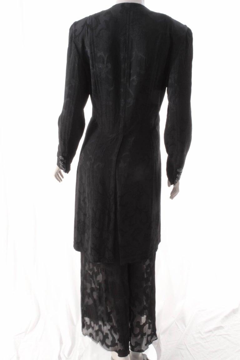 Women's Rare Donna Karan Long Jacket & Sheer Pants Set 2pc Black Silk Brocade Leone 10/M For Sale