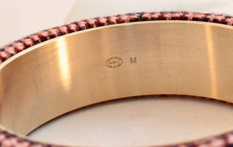 Chanel Pink Tweed Bracelet Bangle 13A Collection New In Box + Dust Bag M For Sale 5