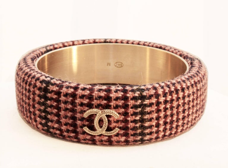 Women's Chanel Pink Tweed Bracelet Bangle 13A Collection New In Box + Dust Bag M For Sale