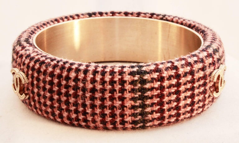 Chanel Pink Tweed Bracelet Bangle 13A Collection New In Box + Dust Bag M For Sale 3