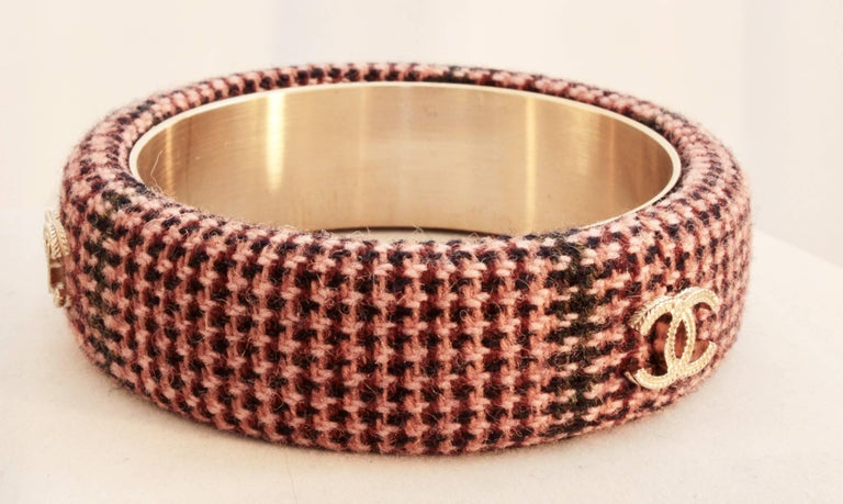 Chanel Pink Tweed Bracelet Bangle 13A Collection New In Box + Dust Bag M For Sale 4