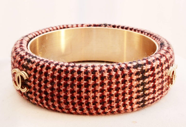 Chanel Pink Tweed Bracelet Bangle 13A Collection New In Box + Dust Bag M For Sale 1