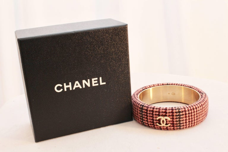 Chanel Pink Tweed Bracelet Bangle 13A Collection New In Box + Dust Bag M In As new Condition For Sale In Port Saint Lucie, FL
