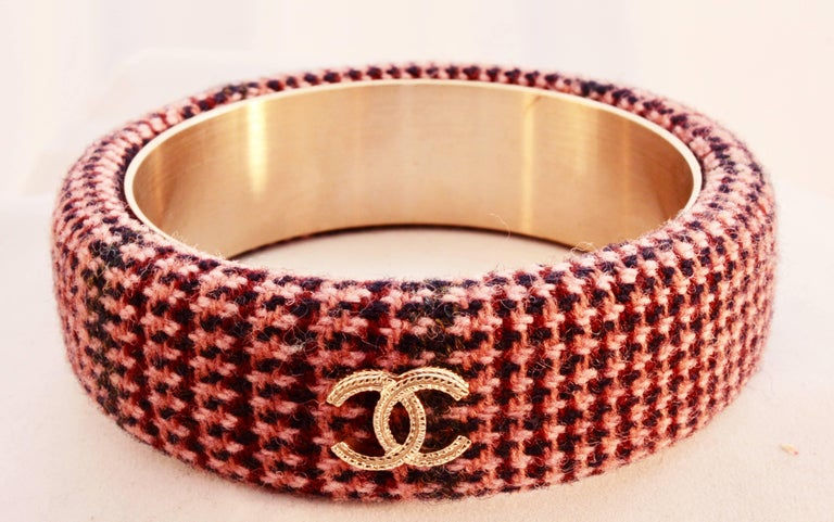 Chanel Pink Tweed Bracelet Bangle 13A Collection New In Box + Dust Bag M For Sale 2