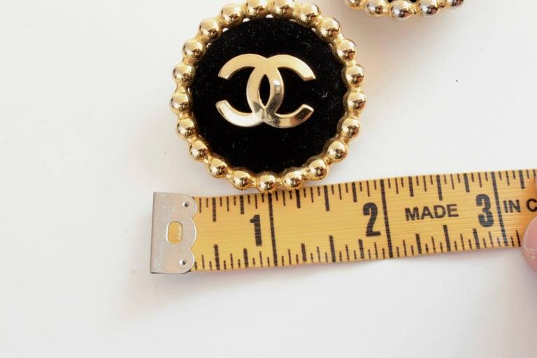 Chanel Large Black Velvet and Gold Metal CC Logo Earrings 1986 Season 2 3  5