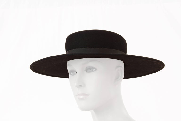 0b519340551 ... Black Wool by Bollman Hat Co Sz S For. This wide brim hat was made by Bollman  Hat Company for Yves Saint Laurent, most