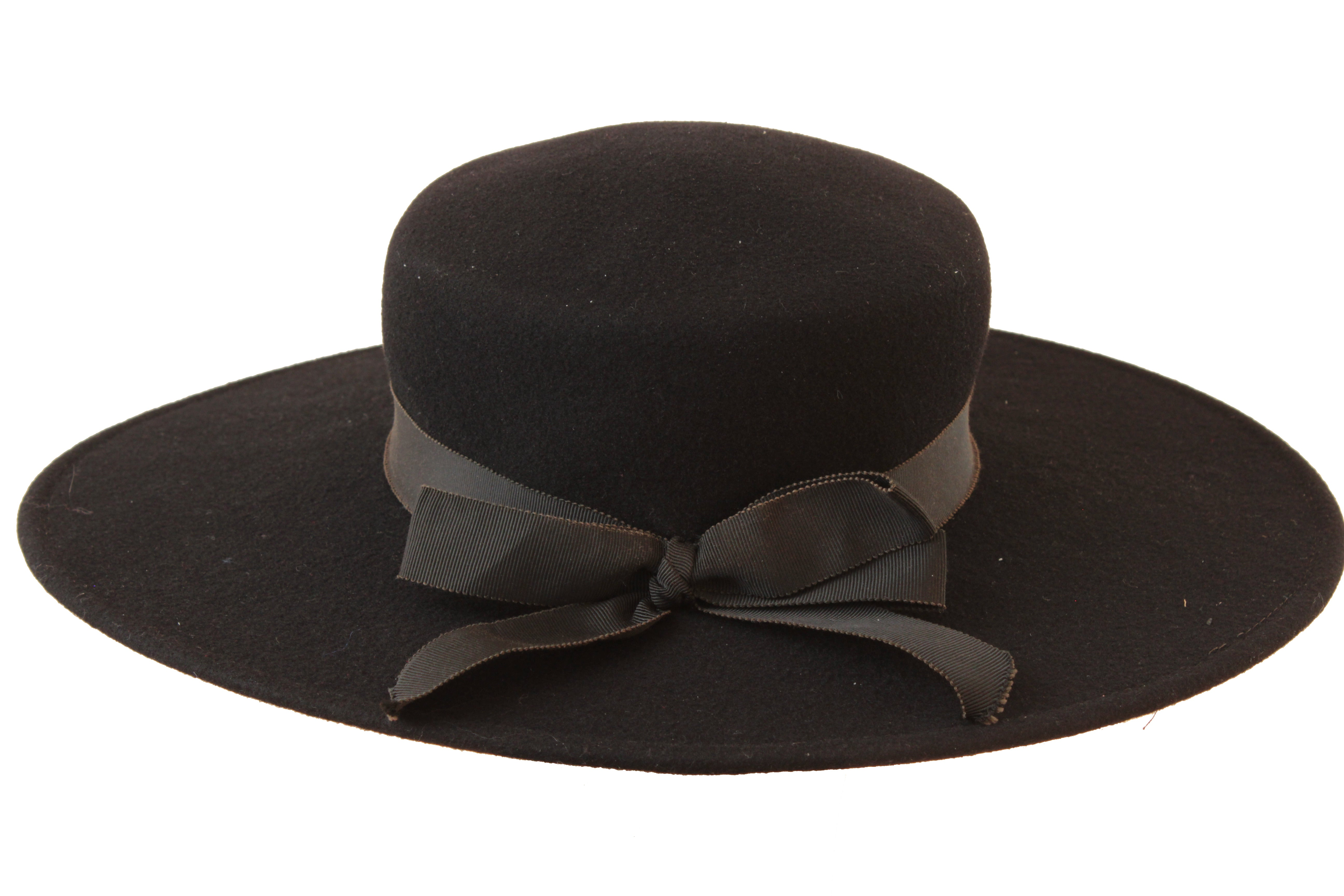 83840e77bbf 70s Yves Saint Laurent Wide Brim Hat Black Wool by Bollman Hat Co Sz S at  1stdibs