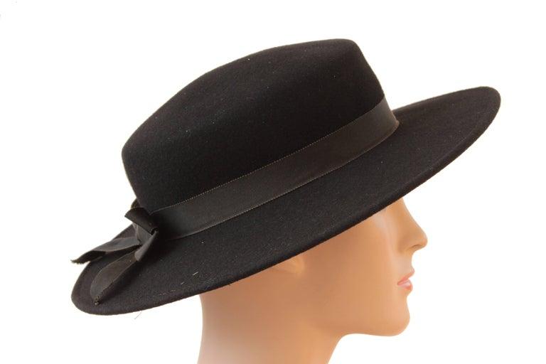 daa4756b055 70s Yves Saint Laurent Wide Brim Hat Black Wool by Bollman Hat Co Sz S In
