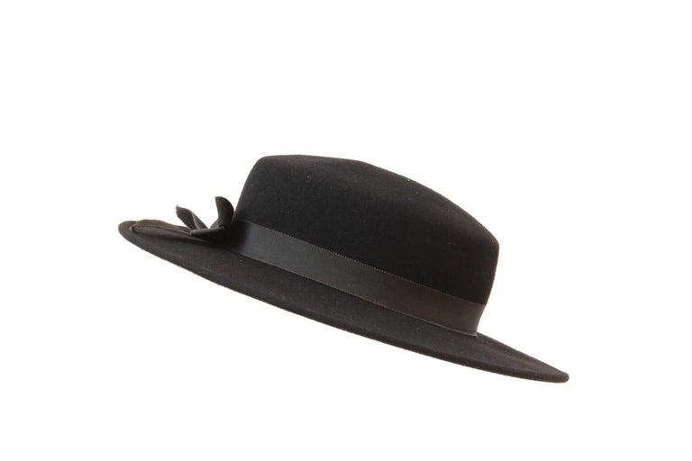 e57a18e5dcf Women s 70s Yves Saint Laurent Wide Brim Hat Black Wool by Bollman Hat Co  Sz S