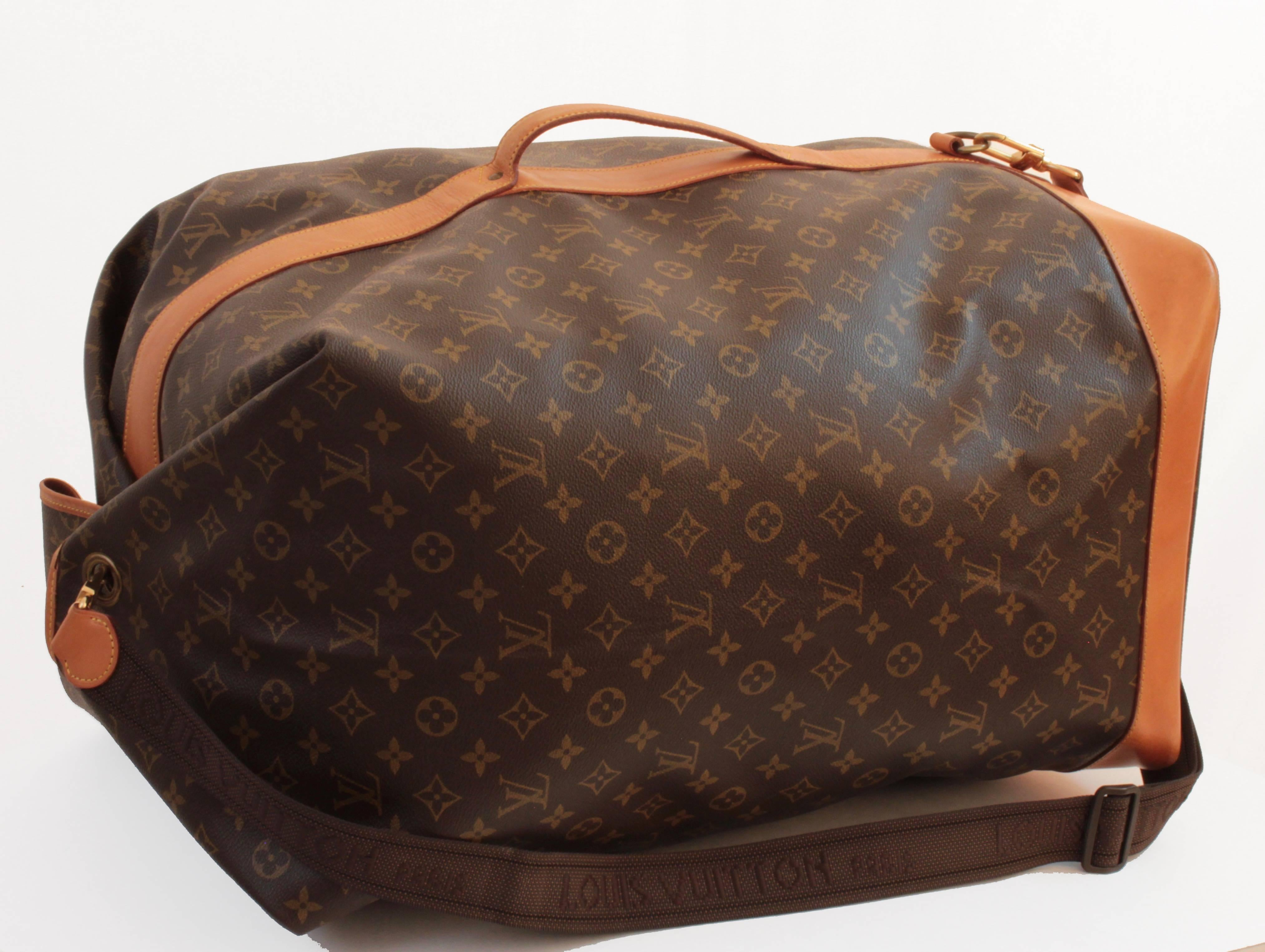 Brown Louis Vuitton Monogram Sac Marin Large Duffle Bag XL Travel Tote  Vintage 90s For Sale
