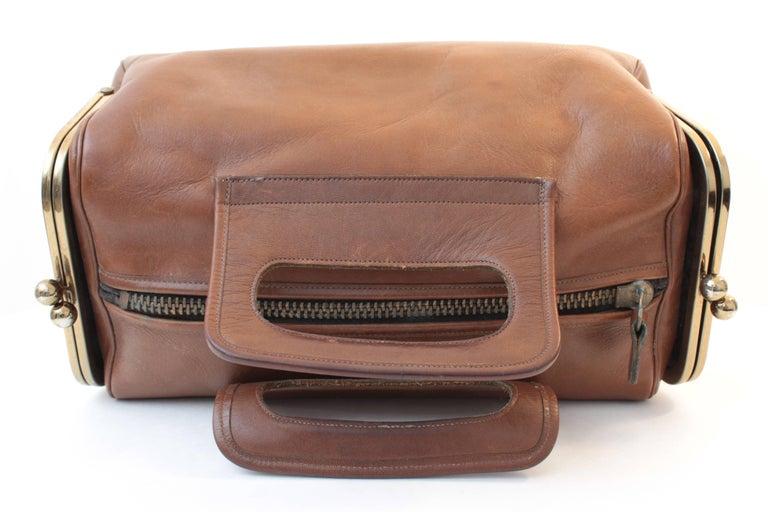 df9c802e3d Bonnie Cashin Saddle Leather Double Header Kiss Lock Pockets Tote ...