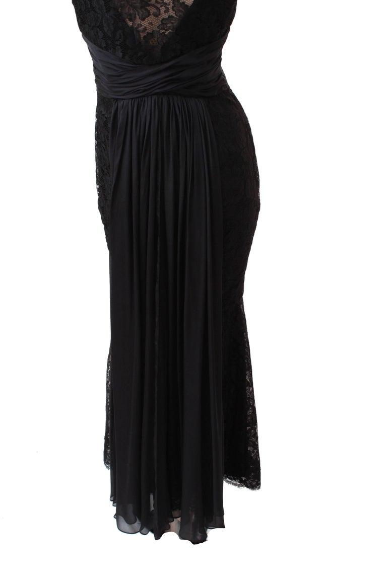 Pamella Roland Evening Gown Black Lace Silk Panels Mermaid Hem Sz 6 For Sale 5