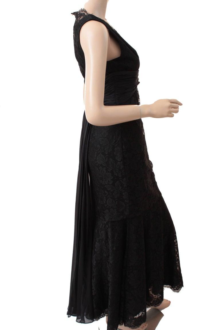 Women's Pamella Roland Evening Gown Black Lace Silk Panels Mermaid Hem Sz 6 For Sale